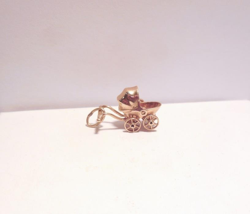 Vintage 14K Gold Baby Carriage Stroller Charm 3D Moveable