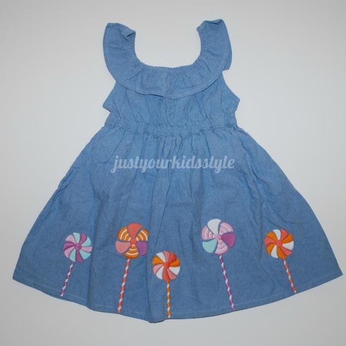 blue dress with pinwheel trim Gymboree NWT Pinwheel Pastels 4t baby girl