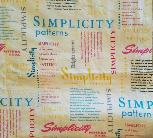 SIMPLICITY PATTERNS CO. 2013 FABRIC TRADITIONS PATTERN BOOK TEXT PINK BLUE 1 YD