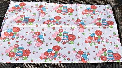 Boy and Girl Cotton Orange and Blue Vintage Fabric