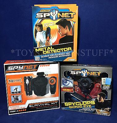 New HUGE SPYNET GEAR LOT Survival Kit METAL DETECTOR Bionic Eye SPYCLOPS SPY NET