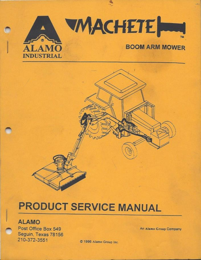 Alamo Machete Boom Arm Mower Service Manual and Troubleshoot Guide (2Pcs)