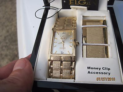 New ELGIN watch with Money Clip.......Still in Box..........FG130ST
