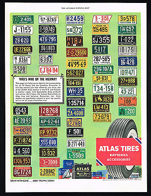 1955 Atlas Tires Batteries 48 US Canadian Province Car License Plates Vintage Ad