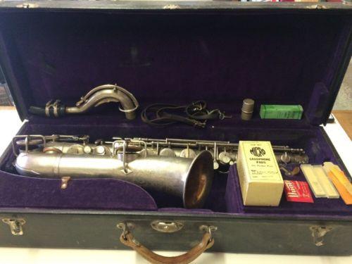 Vintage Buescher True Tone Low Pitch Silver Alto Saxophone + Original Case