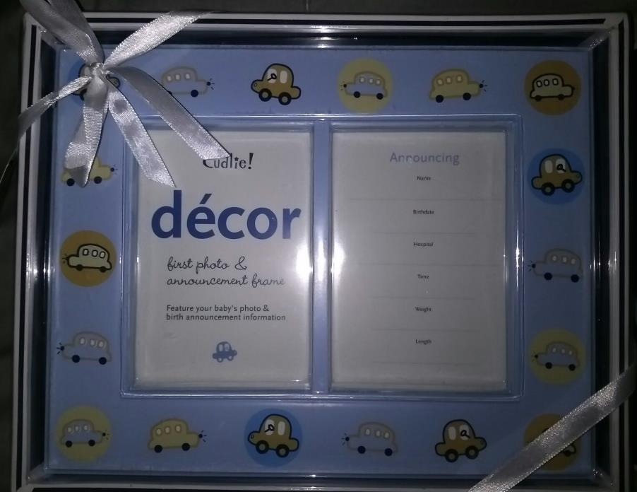 Cudlie Decor First Photo & Birth Announcement , Light Blue, Cars