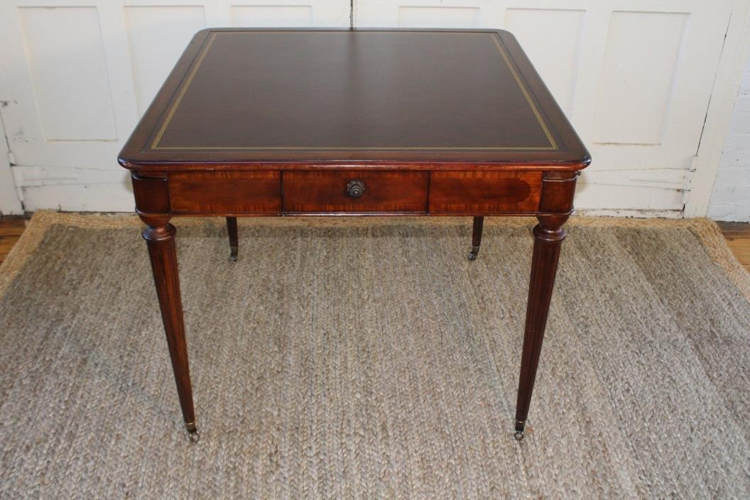 Vintage Drexel Heritage Leather Topped Gaming Table on Casters