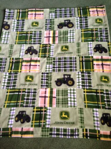 John Deere Baby Quilt Blanket Handmade Reversible Fleece Cotton 38