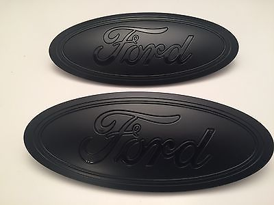 2015=17 Black MATTE  Ford F-150 Emblem SET (Grill & Tailgate),CUSTOM PAINT,CLEAR