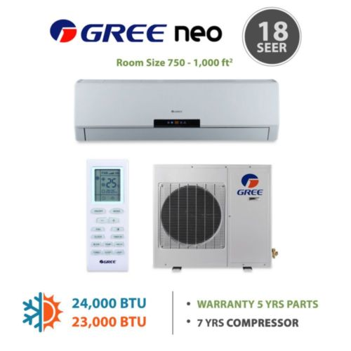 GREE Neo 24,000 BTU Wall Mounted Mini Split Heat Pump System R410A 208-230 VAC