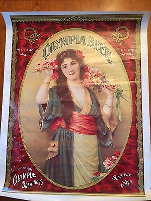 4 large Vintage Olympia Beer Victorian Girl Posters