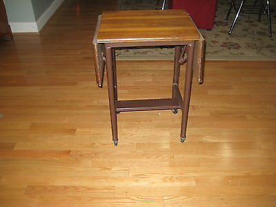 Vintage Metal  & Wood Typewriter Table Desk Cart  Folding Sides Industrial