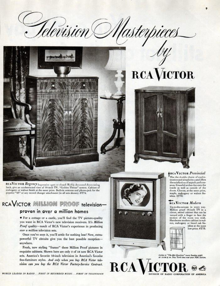 1950 RCA Victor Television Ad - Early TV Ad ---t271