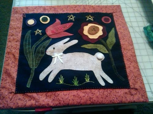Completed Wool Applique Easter Bunny Rabbit Flowers Wall Hanging