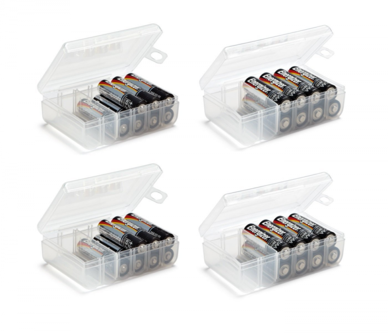 Set of 4 - AA and AAA Battery Storage Box, Battery Storage Case, Battery Holder