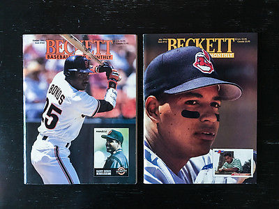 1993 Beckett Baseball Card Monthly October Barry Bonds and July 94 Manny Ramirez