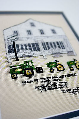 Finished walkers tracters (tractors) mowers state cross stitch Completed Framed
