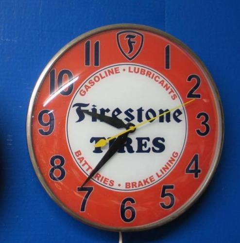 Vintage Pam FIRESTONE TIRES Lighted Advertizing Clock