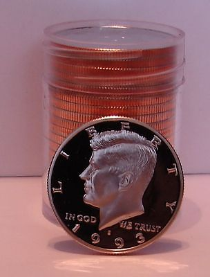1993 S PROOF KENNEDY HALF DOLLAR ROLL - 20 PROOF COINS