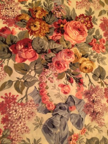 Ralph Lauren Allison Cottage Roses & Flowers  Queen Flat Sheet Fabric