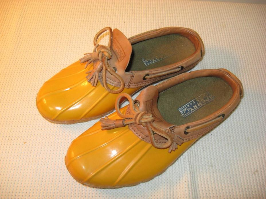 Sperry Top-Sider Women's Yellow Waterproof Rubber Boot Shoes Slides - US 6