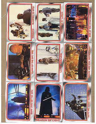 empire strikes back & star wars yellow series topps trading cards 70s/80s  61 ct