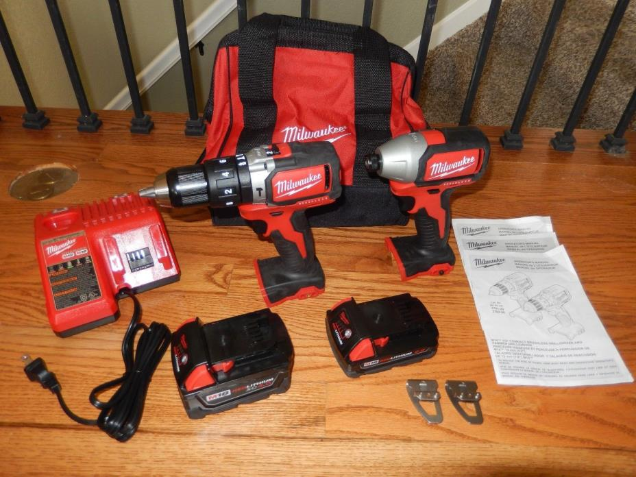 EXC+ Milwaukee M18 Compact Brushless Hammer Drill and Impact Combo Kit Free Ship