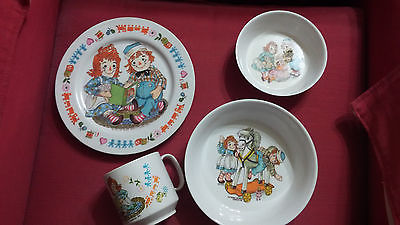 1969 Vintage Raggedy Ann and Andy 4 Piece Oneida Children's Dishware Set