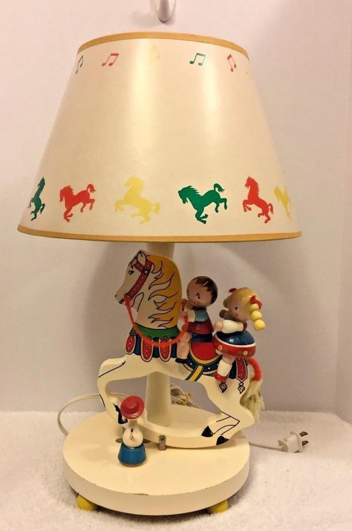 Nursery Originals Lamp 1979 Musical Moving Carrousel Horses Kids Baby