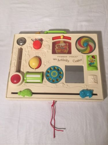 Vtg 1973 Fisher Price FP Activity Center Crib Baby Toy #134