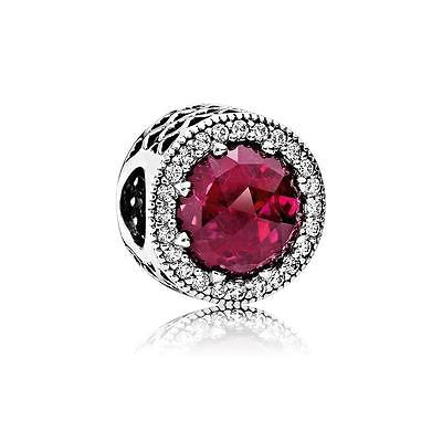 Radiant Hearts Cerise Crystal&Clear 791725NCC~authentic Pandora Silver Bead