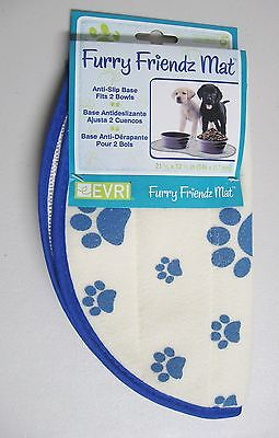 New Furry Friendz Mat /anti-slip base fits 2 bowls/blue paw prints on white