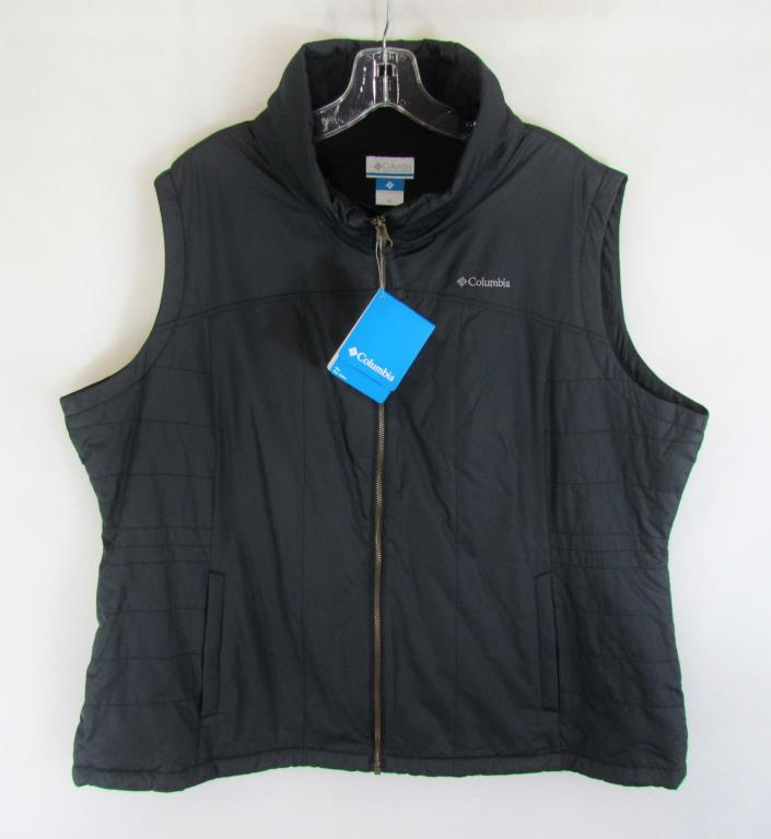 NEW! $60 COLUMBIA WOMEN'S BLACK SLEEVELESS JACKET VEST 2X