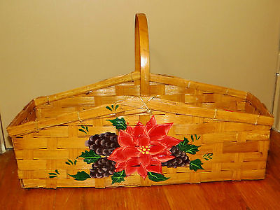 Antique Primitive BASKET POINSETTIA PINECONE Longaberger PAINTED Gathering Bowls
