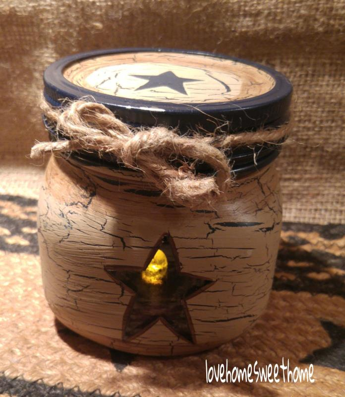Primitive Crackle Tan & Navy Blue Lighted Mason Jar ~ Country Decor