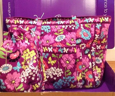 Vera Bradley Get Carried Away Tote Bag and Ditty Bag in Flutterby