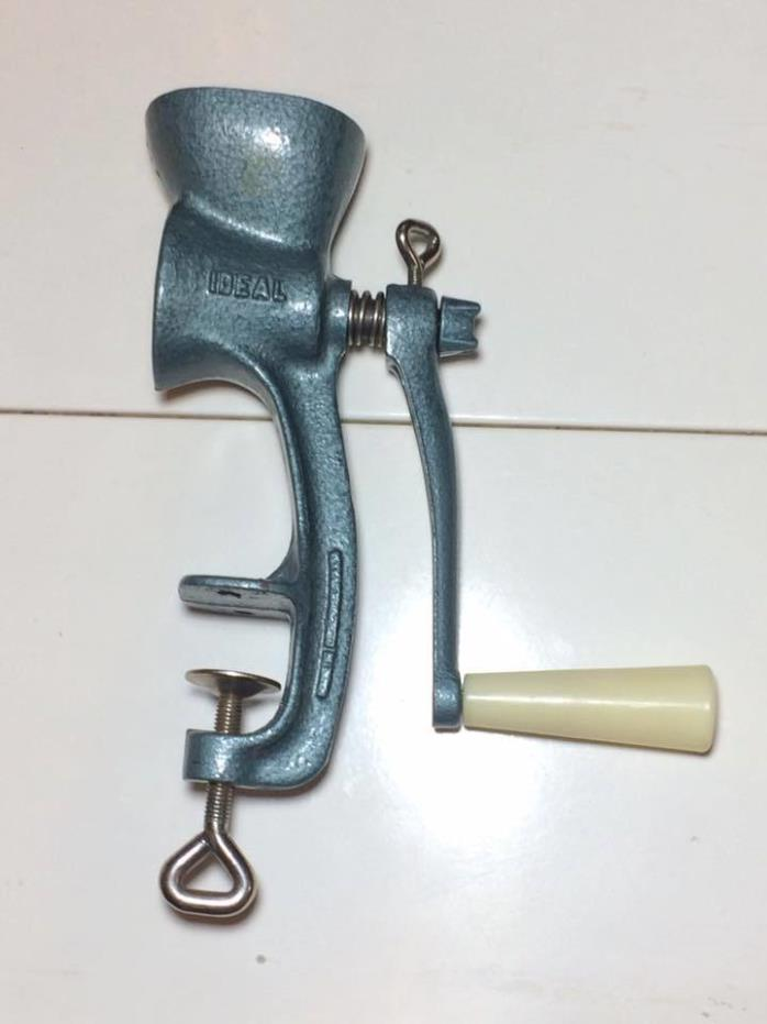Vintage Ideal blue enamel cat iron hand crank coffee mill made in Czechoslovakia