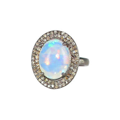 Ethiopian Opal Diamond Ring Sterling Oval Sze 6-7