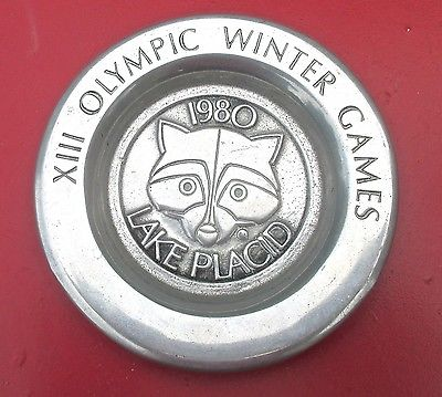 Vintage 1980 Lake Placid Winter Olympics Aluminum Plate or Pin Tray.