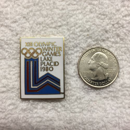 Vintage 1980 Lake Placid NY Olympics Logo Lapel Pin Free Shipping Within USA