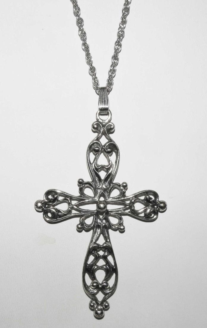 Large DANECRAFT 925 Sterling Silver Cross Pendant Necklace  21