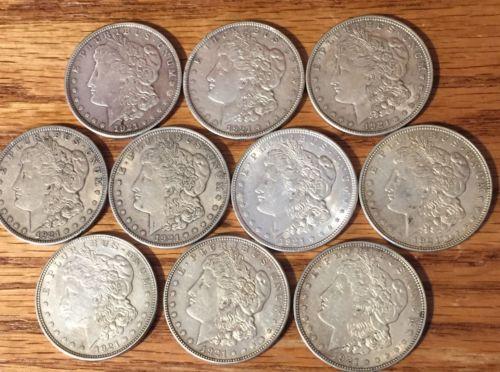 10 Lot - 1921's Silver Morgan Dollars!  Bu's To Xf's! You Grade!!