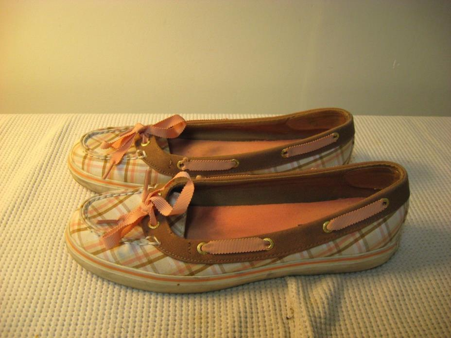 Sperry Top-Sider Angelfish Women's Brown Pink Canvas Boat Shoes - US 8 M