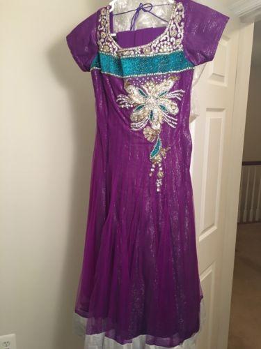 3 Piece Shalwar Kameez Women Sz Medium Purple Wedding Anarkali Indian Dress