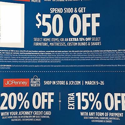 JCPenney Home Decor Furniture Mattress Window Coupons $50 20% 15% Off FAST!!!