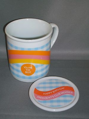 Vintage AVON Sales Rep Gift President's Club Covered Mug-Happy Birthday-Unique!