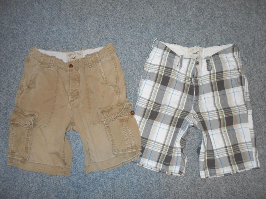 2 PAIRS! HOLLISTER MENS 30 RUGGED CARGO & CHINO SHORTS LOT