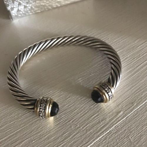 David Yurman SS & 18K Smoky Quartz & Diamond  7MM  Cable Bracelet