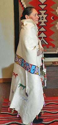 Crow indian beaded wedding robe, beadwork