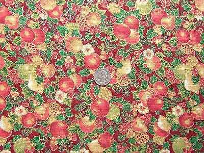 VINTAGE LOVELY RED BERRY CONCORD CHRISTMAS FABRIC BTY